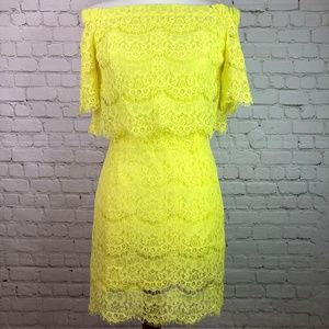 NWT May & July Yellow Lace Off Shoulder Dress